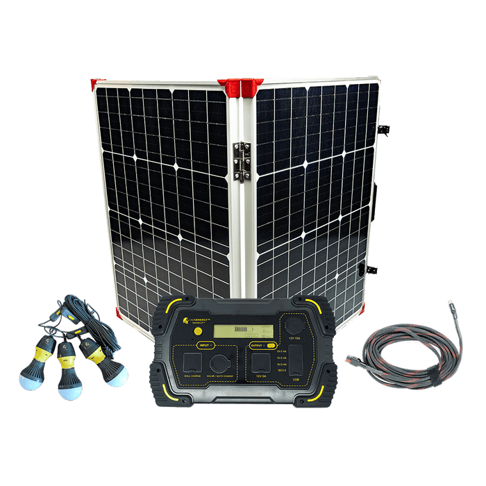 Lion Energy Safari LT Off-Grid Bundle [Solar Powered Generator, Solar Panel, LED Camping Lights]