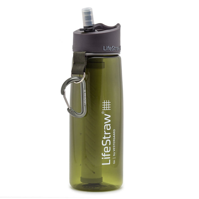 Green LifeStraw Go 22 oz Water Filter Bottle and Survival Water Filter