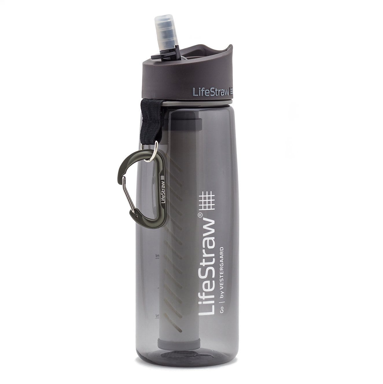 Grey LifeStraw Go 22 oz Water Filter Bottle and Survival Water Filter