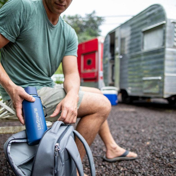 Using the LifeStraw Go Stainless Steel 24 oz Water Filter Bottle on a road trip camping
