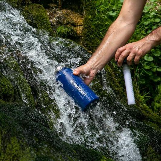 Using the LifeStraw Go Stainless Steel 24 oz Water Filter Bottle in a local river