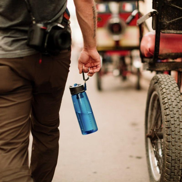 LifeStraw Go 22 oz Water Filter Bottle and Survival Water Filter outside of the country