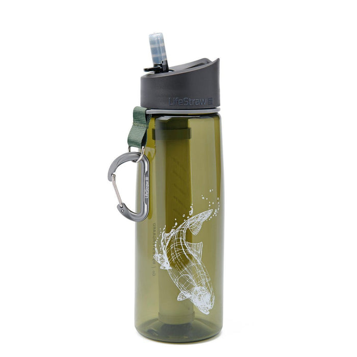 """Trout"" LifeStraw Go 22 oz Water Filter Bottle and Survival Water Filter"