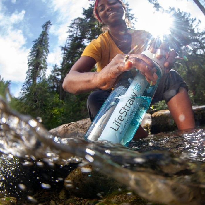 LifeStraw Go 22 oz Water Filter Bottle and Survival Water Filter in a local stream