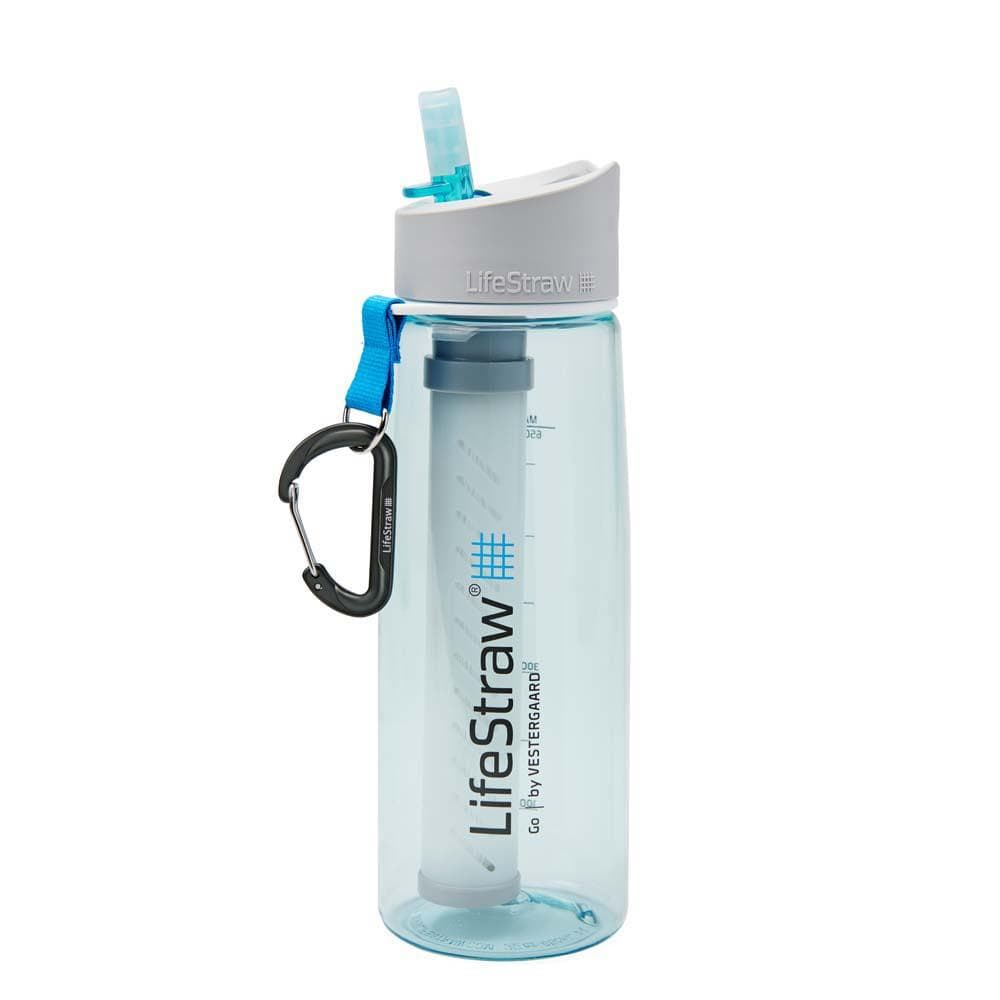 Clear Blue LifeStraw Go 22 oz Water Filter Bottle and Survival Water Filter
