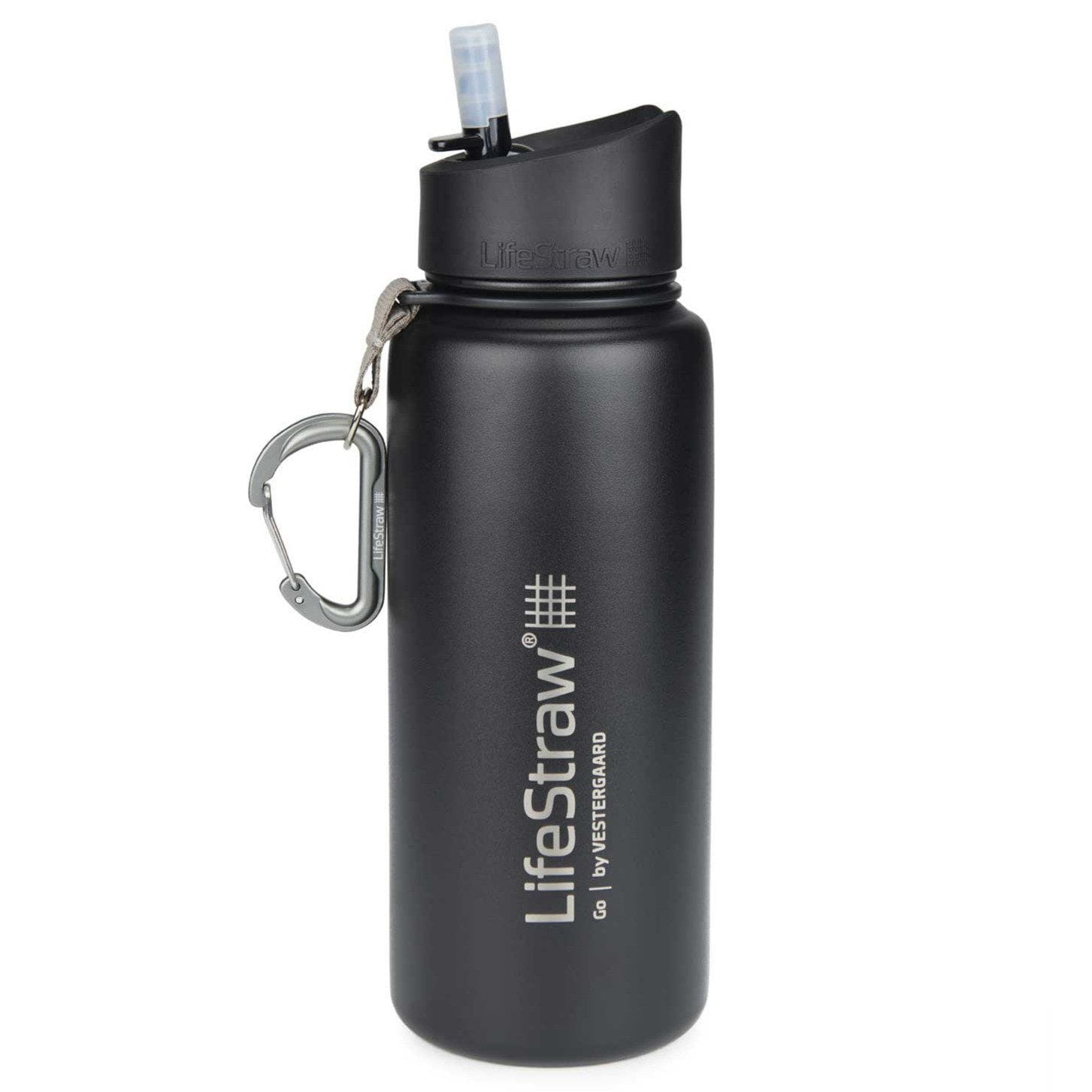 Black LifeStraw Go Stainless Steel 24 oz Water Filter Bottle