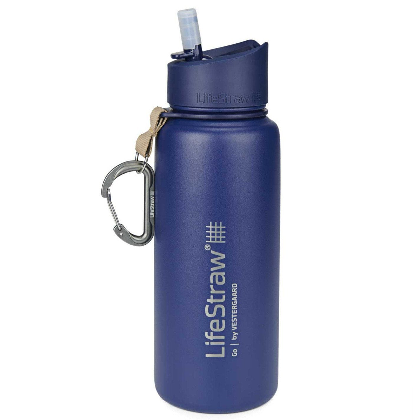 Blue LifeStraw Go Stainless Steel 24 oz Water Filter Bottle