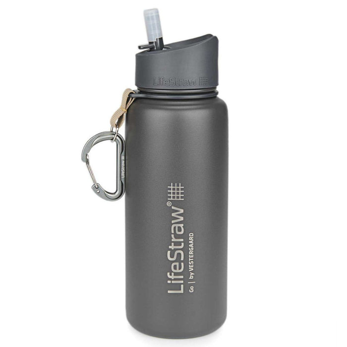 Grey LifeStraw Go Stainless Steel 24 oz Water Filter Bottle