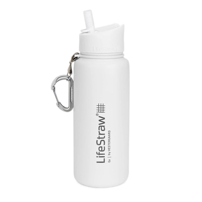 White LifeStraw Go Stainless Steel 24 oz Water Filter Bottle