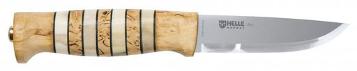 Helle Arv handmade knife with drop point blade and curly birch, antler and leather handle