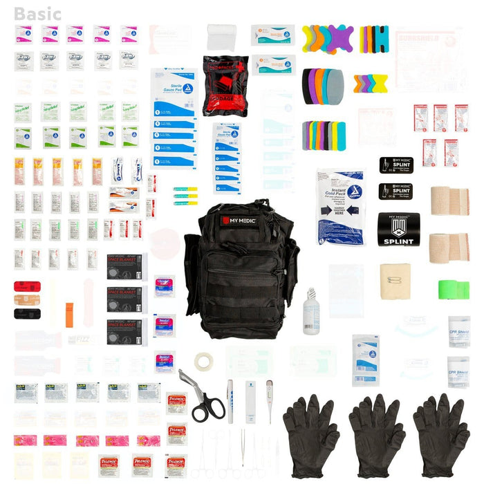 Contents of The Recon: Basic trauma kit and tactical sling bag