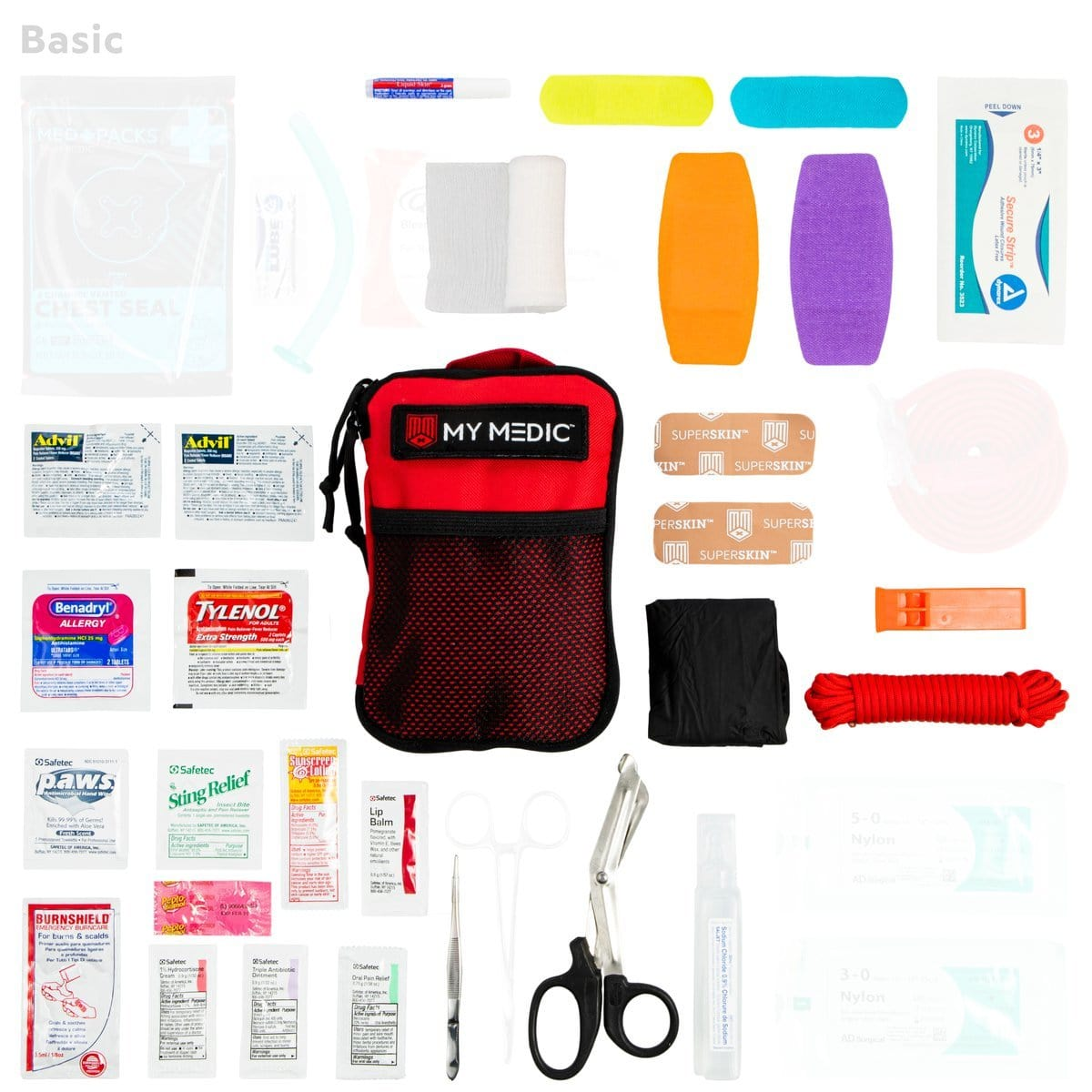 Contents of The Solo: Basic mini first aid kit by MyMedic