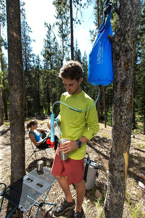 LifeStraw Mission high volume survival water filtration system at the campsite