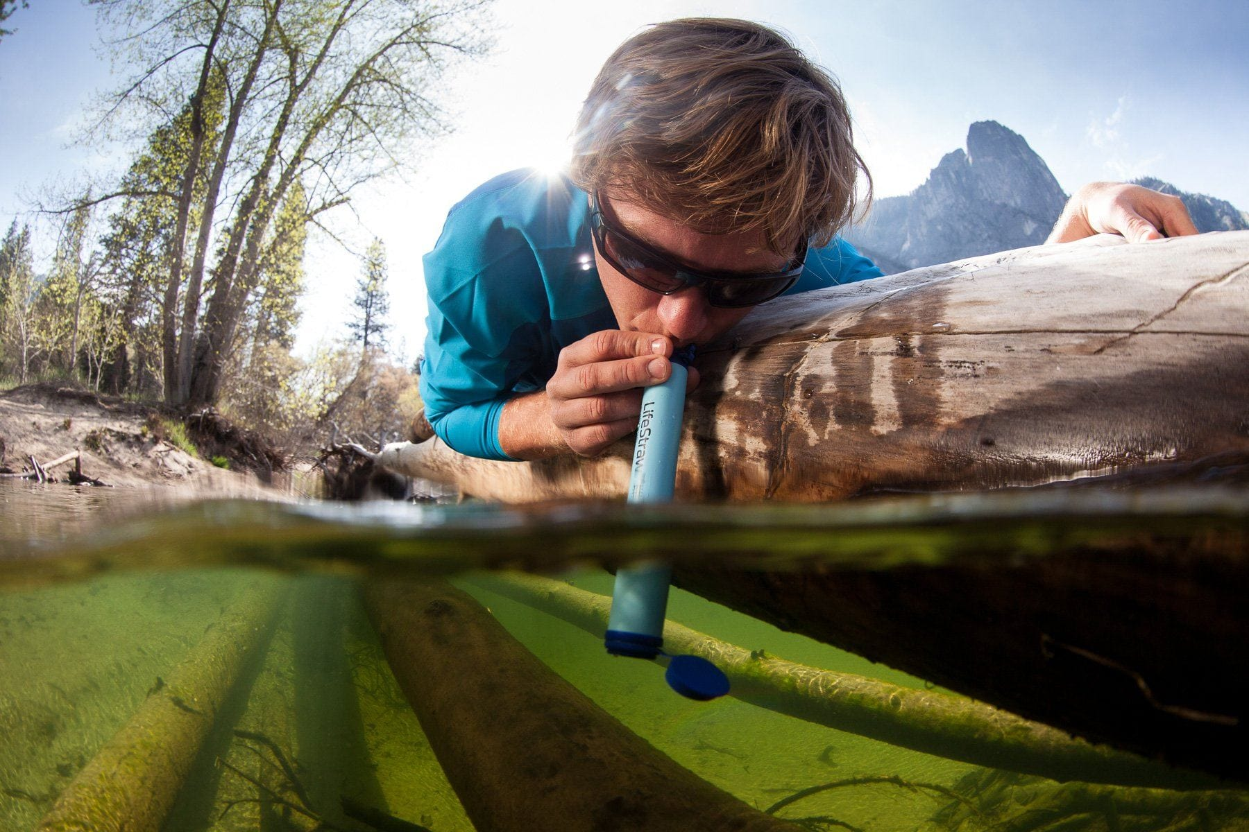 Using the LifeStraw Personal Survival Water Filter and Emergency Water Filter in a local river