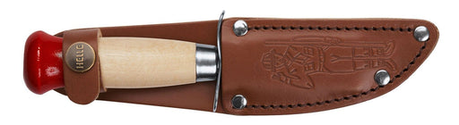 Boy Scout Knife - Handmade Kids Bushcraft Knife by Helle with custom leather sheath featuring Boy Scout