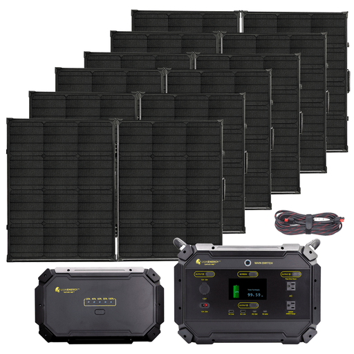 Lion Energy Safari ME 2000W Solar Powered Generator Deluxe Kit Bundle