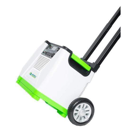 Nature's Generator Solar Powered Generator comes with a heavy duty roll cart for easy portability