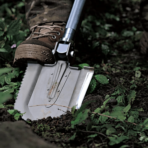 "The Annihilate ""Bad Kid"" tactical  shovel in use"