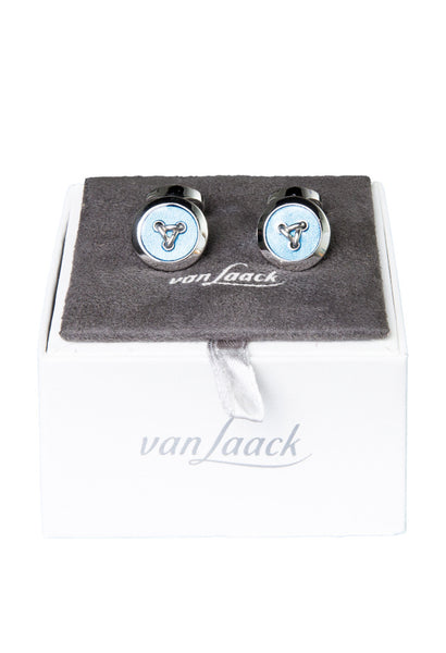 Blue Button Cuff Links Van Laack Box