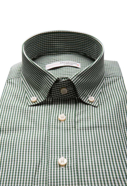 Onex Green Check Shirt Artigiano Collar