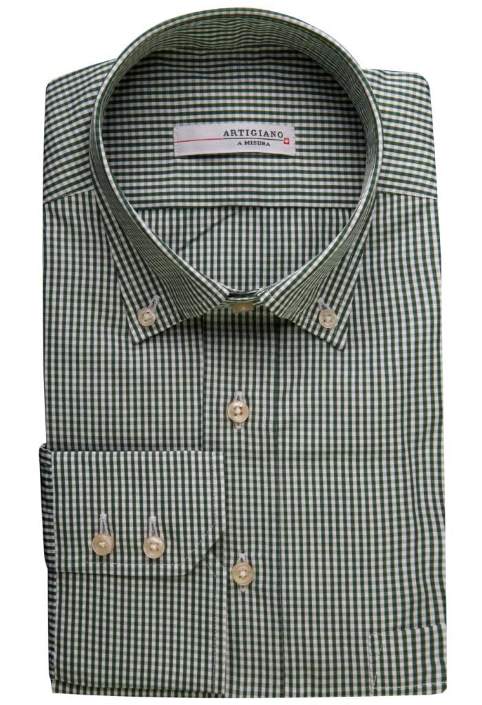 Onex Green Check Shirt Artigiano Folded