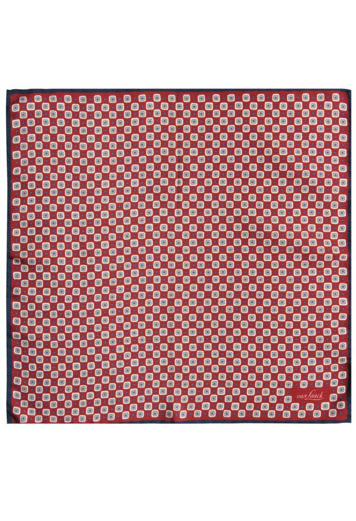 Red Silk Pattern Pocket Square Van Laack Full