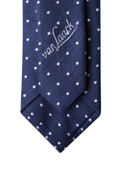 Van Laack Navy Polka Dot Tie Label