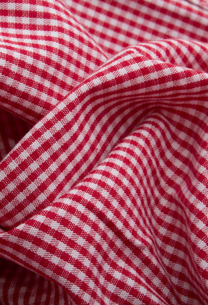 Lamington Red Check Shirt NYMB Fabric Folded