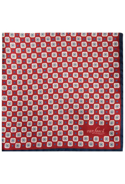 Red Silk Pattern Pocket Square Van Laack Folded
