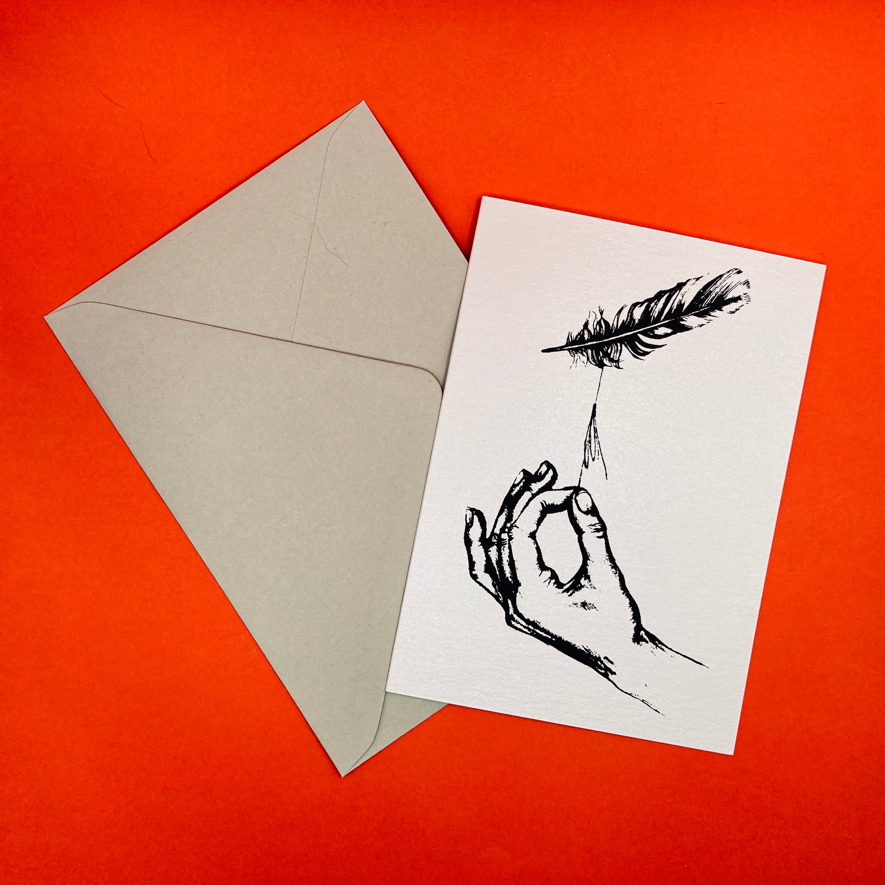Dark Peak Press - Adrift - Hand and Feather Greetings card