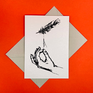Open image in slideshow, Dark Peak Press - Adrift - Hand and Feather Greetings card