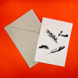 Dark Peak Press - Falling Feathers - greetings card