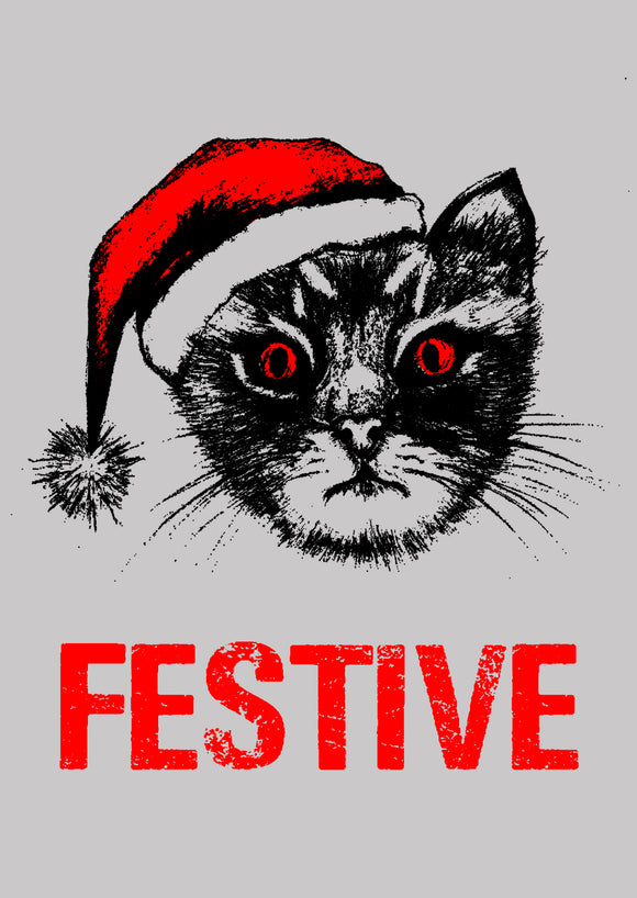 Festive Funny Cat Christmas Card by Death Rattle Press