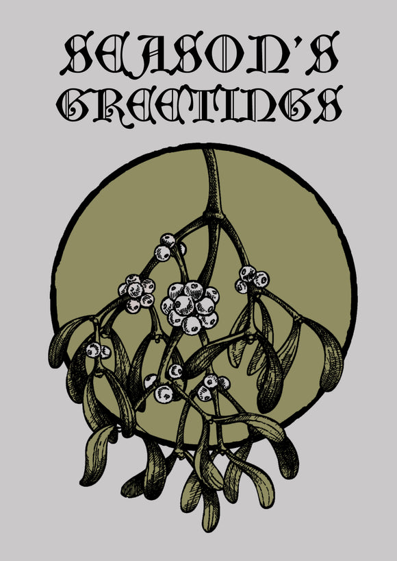 Mistletoe Season's Greetings Christ Card by Death Rattle Press