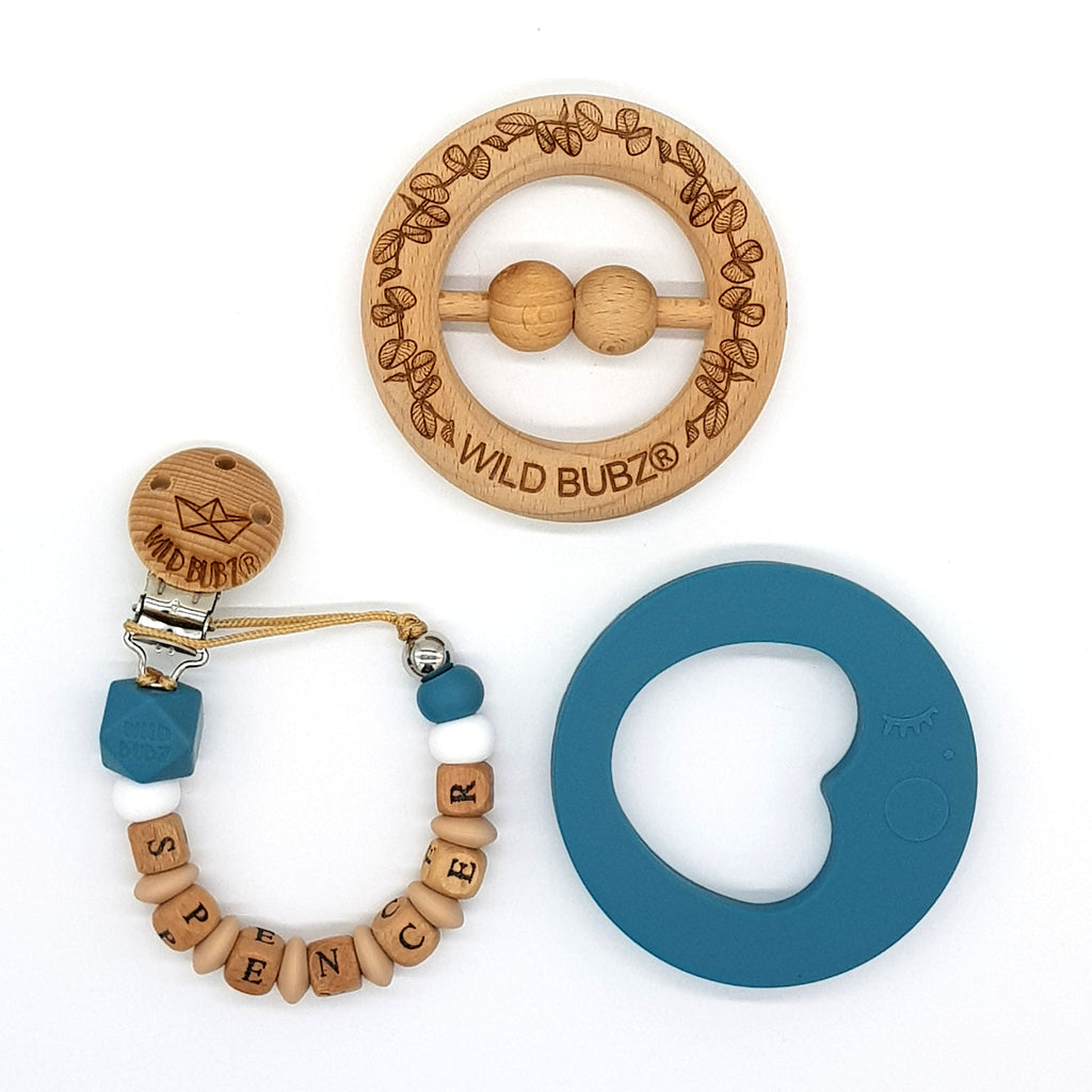 PERSONALISED WOODEN BABY TOYS AND SILICONE TEETHERS