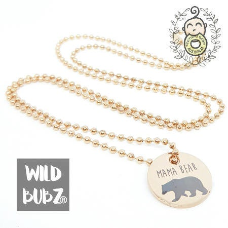 WILD BUBZ® Mama Bear Rose Gold Stainless Steel Necklace ★★★★★