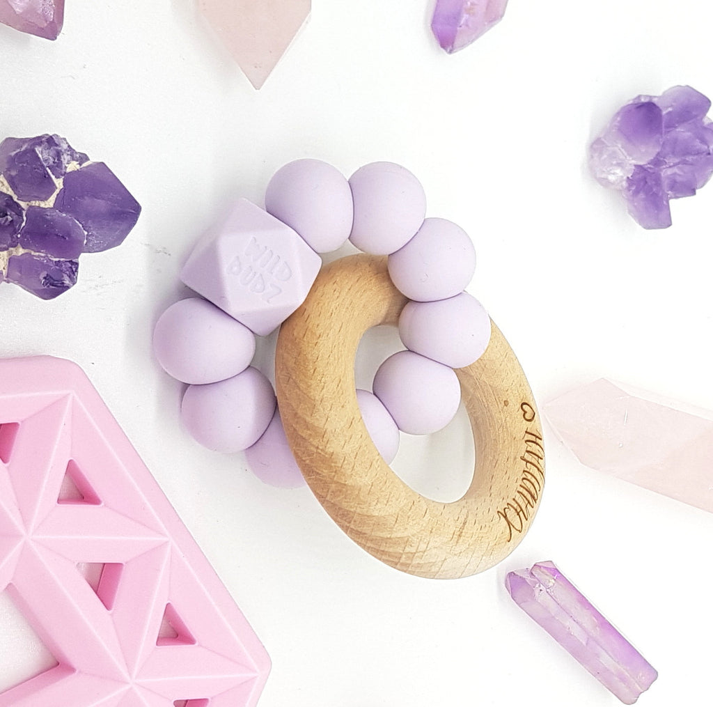 WILD BUBZ® Colour Pop beech wood Ring Baby Teether Toy ★★★★★