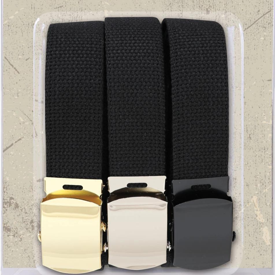 54 Inch Black Military Web Belts in 3 Pack