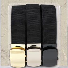 Load image into Gallery viewer, 54 Inch Black Military Web Belts in 3 Pack