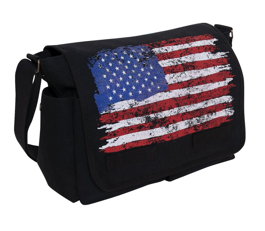 Distressed U.S. Flag Canvas Messenger Bag