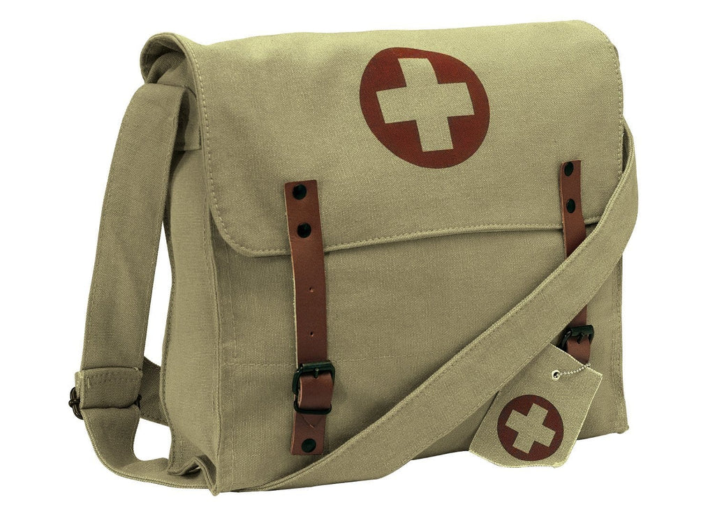 Vintage Medic Canvas Bag With Cross