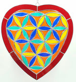 Stained Glass Flower of Life Heart