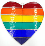 Stained Glass Rainbow Heart Flag