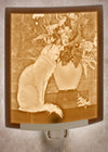 Lithophane Nightlight - Cat with Flowers