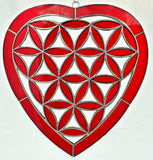 Flower Of Life Heart Stained Glass