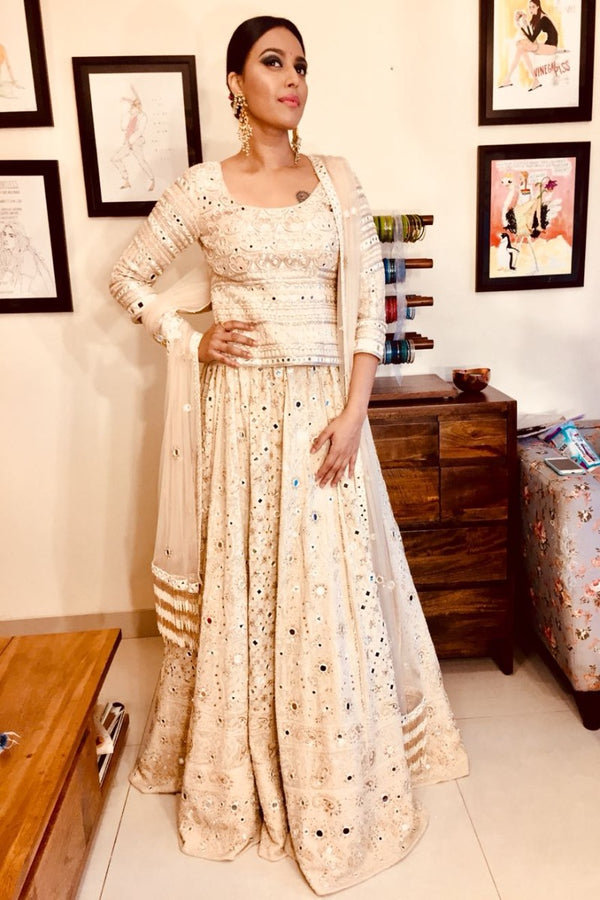 Swara Bhasker looks absolutely stunning in our ivory embroidered lehenga