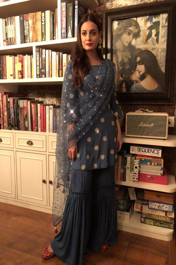 Dia Mirza looks beautiful in our embroidered sharara set
