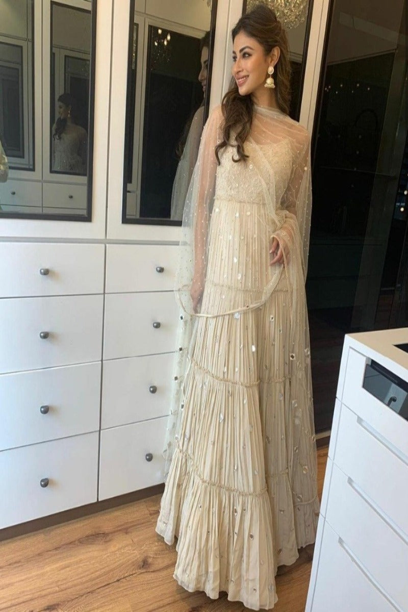 Mouni roy looks so resplendent in ivory anarkali