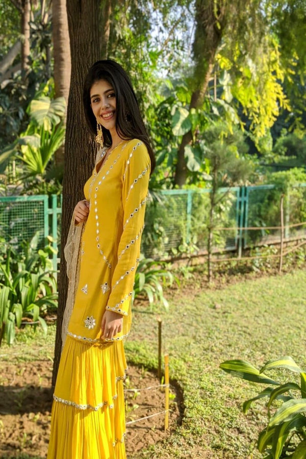 Sanjana sanghi radiates happiness in this yellow ensemble