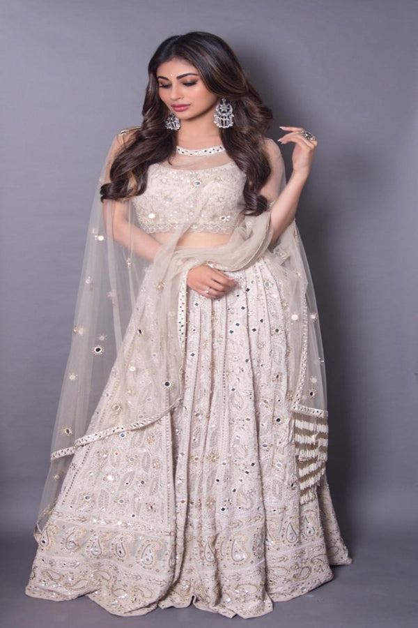 Mouni roy is magnificent in ivory chikankari lehenga set